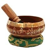 Tibetana de cobre canto tazón meditación y plata decoración budista de 10 cm