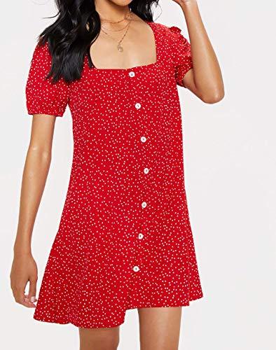 Amuzz Triangle Dot Button Through Shift Dress (14, Red)