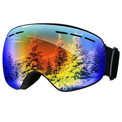 TOPELEK Maschere da Sci Antiappannamente per Adulto,Maschere da Snowboard Blu,Protezione UV400,Lente...