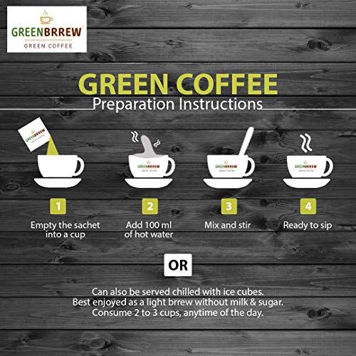 Greenbrrew Natural Instant Green Coffee for Weight Management (Pack of 3, 20 Sachets) - 60g Each 10