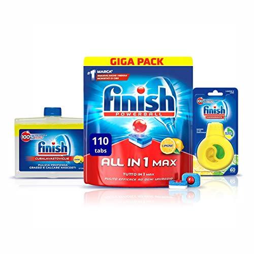 Finish All in 1 Max Kit Pastiglie Lavastoviglie 110 Tabs + Curalavastoviglie + Deodorante