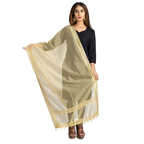Lionize Women's Golden Net Dupatta