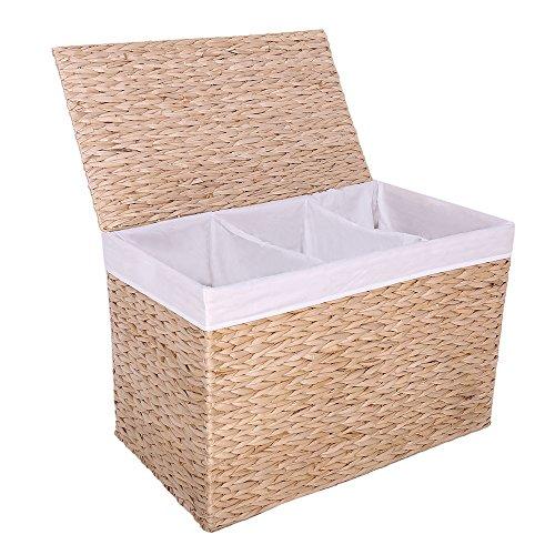 KYD 3 Fach Wäschekorb Wäschesortierer Wäschebox Wäschesammler aus Geflochtener Wasserhyazinthe 3 Fächer Wäschekörbe Wäschetonne Wäschetruhe Wäschebehälter mit Deckel für Badezimmer Natur 65x37,5x42 CM