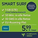 Smart Surf mit 1GB LTE Internet Flat max. 21 MBit/s, 50 Frei-Minuten & 50 SMS in alle deutschen Netze, EU-Roaming, 24 Monate Laufzeit, monatlich nur 5,99 EUR, Triple-Sim-Karten