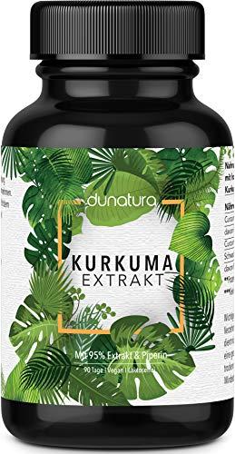 dunatura Kurkuma Extrakt Kapseln 90-Tages-Ration - höchste Qualität laborgeprüft aus Deutschland - Curcumingehalt pro Kapsel entspricht ca. 10.000mg Kurkuma