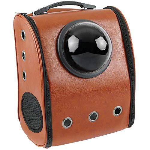 CityBAG - Mochila para transporte de mascotas gato y perro Transportin de imitación piel marrón