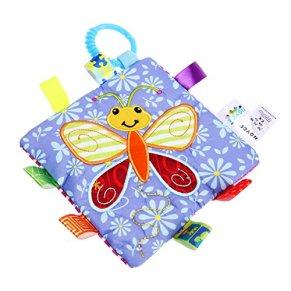YeahiBaby Juguetes Blandos para Bebes Manta de Seguridad con Sonajero Libros Blandos para Niños (Mariposa)