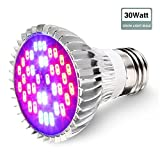 GLIME Plant Light E27 30W 40LED Lights Plants Grow Lights Bulb Growing Lighting Hydroponic Lamp for Indoor Garden Bonsai Greenhouse Garde Full Spectrum Balcony Fruit Vegetable Flower Seeds Seaweed Growth.