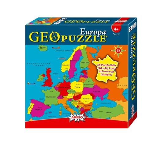 Amigo 00380 - GeoPuzzle, Set di puzzle a forma di stati europei, 58 pz. [Lingua tedesca]