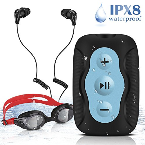 AGPTEK Reproductor de MP3 Acuatico 8 GB Impermeable IPX8 con Gafas de Natación y Auriculares, Azul S33B