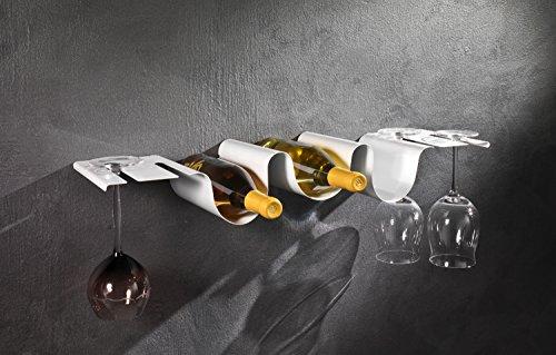Cantinetta mensola da parete porta bottiglie e calici