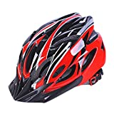 Uzexon MTB Cycling Bike Helmet(18 Vents,Size 57cm-62cm),Adults Unisex Ventilated Lightweight Bike Helmet(EPS and PC Material ) with Removable Visor,Adjustable Wheel System,A Soft Liner (Red-Black, Large(57cm-62cm))