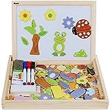 Anpro Puzzle Bois Magnétique 110 PCS Aimantes Jouet Educatif Tableaux Doubles Réglable Et 1pcs Brosses ,3pcs Craies de Couleurs, 3pcs Stylo Feutres Taille 30*23*3.5cm Pour Enfants Agé de 3-8 Ans