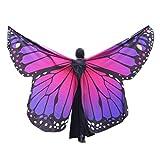 Overdose Frauen 197*125CM Weiche Gewebe Schmetterlings Flügel Schal feenhafte Damen Nymphe Pixie Kostüm Zusatz (260*150CM, F-Hot Pink)