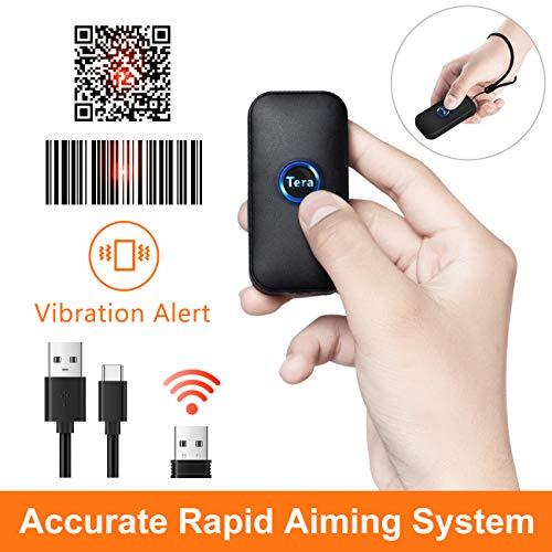 Tera Mini Barcode Scanner Wireless Barcodescanner kompatibel mit Bluetooth 2D 1D QR USB Handscanner Bildschirm automatisches Abtasten mit Vibration Warnen (Deutsche Anleitung)
