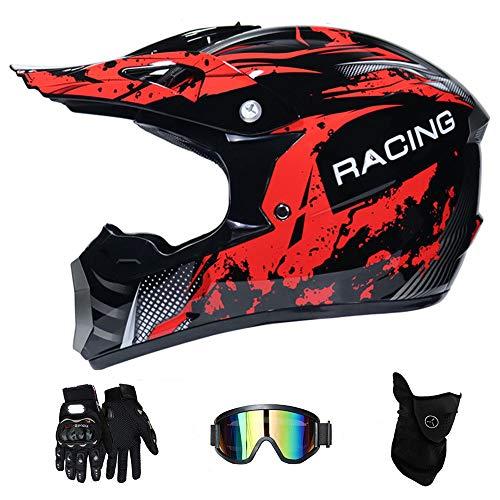 WenYan Moto Motocross caSchi e Guanti e Occhiali D. O. T Standard Bambini Quad Bike ATV Go Karting...