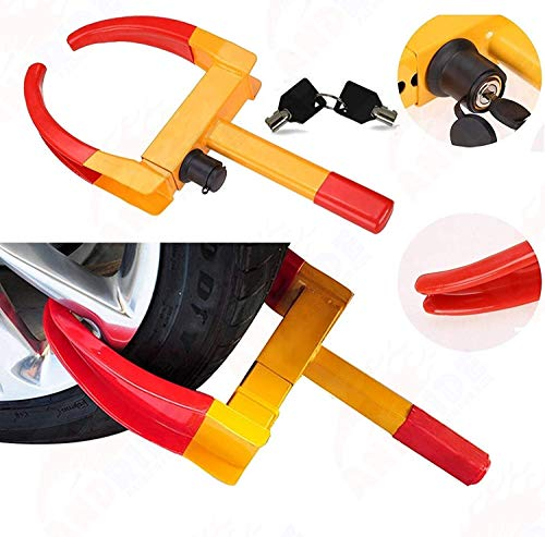 Andride Universal Yellow Anti Theft Car Wheel Tyre Lock Clamp Heavy Duty Anti Theft Protective Car Wheel Lock Security Tire Clamp