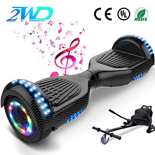 2WD Hoverboard Scooter électrique de, Scooter électrique de équilibrage d'individu de 6.5 Pouces avec Les Roues Lumineuses, Orateur de Bluetooth, UL Certifié - Moteur de 2 * 350W