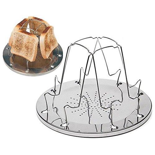SODIAL 4 fette di pane pane tostato vassoio stufe a gas fornello barbecue campeggio tostapane rack
