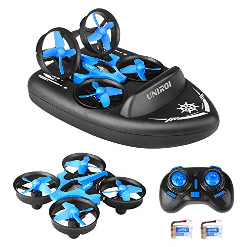 UNIROI Mini RC Drone, 3 in 1 RC Quadcopter Supporto RC Vehicle RC Boat, 2.4Ghz Sensore con 360°...