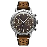 Undone Tropical Caribbean Hybrid Chronograph Quartz Mechanical Stainless Steel Brown Bronze Beige Leather Date Vintage Men's Watch