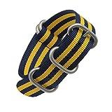 20 millimetri in un unico pezzo cinturini per orologi stile NATO nylon Perlon degli uomini squisiti del blu / giallo strisce di tessuto di lusso