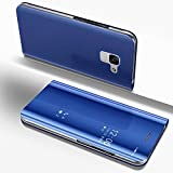 Custodia a Specchio per Samsung Galaxy A8 2018,Samsung Galaxy A8 2018 Cover Protettiva per Telefono in Pelle Blu,Artfeel Luxurious Slim Fit Plating Hard Flip Shockproof Case with Built in Kickstand Function Make Up Mirror Clear Case for Samsung Galaxy A8 2018