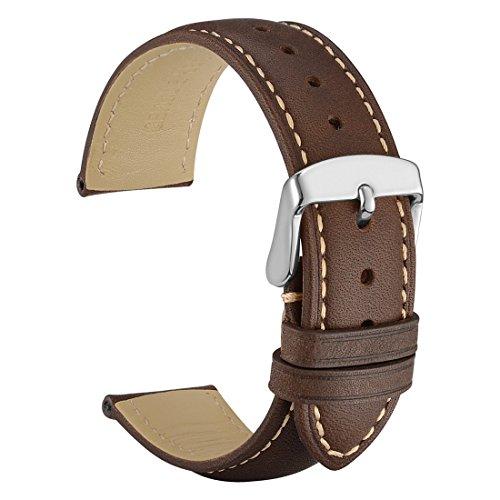 WOCCI 18mm Cinturino in Pelle Retro Compatibile con Molti Tipi di Orologi (Marrone Scuro)