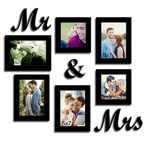 Painting Mantra Mr & Mrs Together Forever Glass Photo Frame, Black