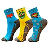 Pack Calcetines Running Mix, 3 Pares, Hombres, Mujer, Divertidos, Foxblue, Skully, Comic, Talla 41-45