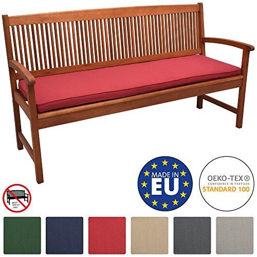 Beautissu Loft BK Bankauflage Auflage für Gartenbank Sitzkissen 150x48x5cm Rot Polsterauflage mit Oeko-Tex weitere Farben & Größen