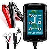 Keenstone 1.5A Cargador y Mantenedor de Baterías 6V/12V, Automático Inteligente 4 Etapas de Carga para Moto Ciclomotor ATV RV, Baterías 4-36AH de SLA Wet AGM Gel VRLA Lead Acid
