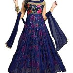 Drashti Villa Women's Bangalory Silk Printed and Net Anarkali Gown (Free size)