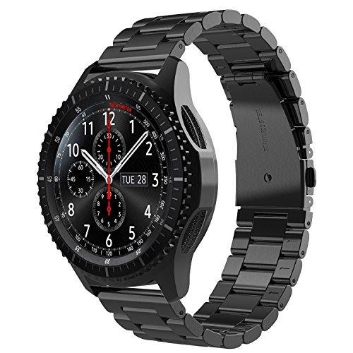 Simpeak Cinturino compatible per Samsung Galaxy Watch 42mm Banda in Acciaio Inossidabile con chiusura pieghevole, Cinghia di Polso, Fibbia di Metallo per Galaxy 42,5.5'-8.5', Nero