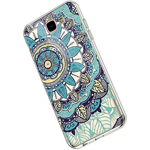 Ukayfe Compatible con Samsung Galaxy J5 Prime Custodia,Trasparente Silicone con Disegni Fiore di...