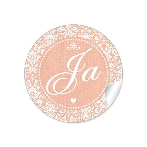"""24 STICKER: Romantische Hochzeitsaufkleber\""""JA\"""" im\""""Shabby Chic gestreiften Packpapier Retro Look\"""" mit Herz und Ornamente (4 cm, rund, matt) Für Gastgeschenke oder Tischdeko zur Hochzeit in Apricot"""