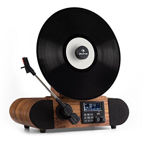 Auna Verticalo Dab • Platine Vinyle • Tuner Dab+ et FM • Bluetooth • MP3 • USB • Variateur de Vitesse • Ecran LCD • Design rétro • Polyvalent • Fonction réveil • Fonction arrêt Automatique • Bois