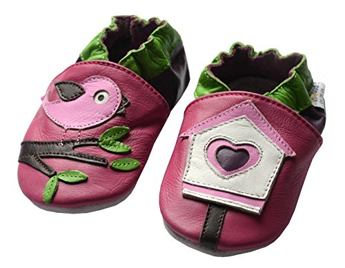 Jinwood designed by amsomo 12 diversi modelli - Ragazze - Pantofole in pelle - Scarpine per gattonare - Soft Sole/Mini Shoes Div. Dimensioni: 17/19-35/36, Multicolore (Bird House Mini Shoes), 24/25 EU