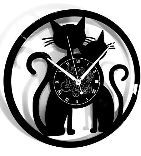 Instant Karma Clocks Orologio da Parete in Vinile Idea Regalo Vintage Handmade Coppia Cats Gatto Gatti, Silenzioso