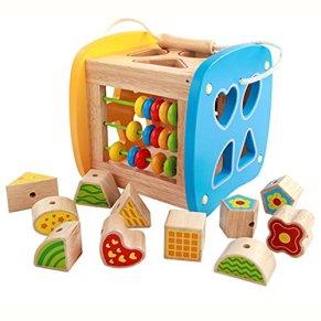 BigNoseDeer Cubos de Madera de la Actividad, Clasificación de Formas, Xilófono, ábaco, Juguetes de Desarrollo temprano para niños pequeños