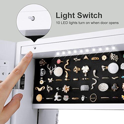 LANGRIA Schmuckschrank Hängender Spiegelschrank mit 10 LED-Leuchten, 5 Regale Aufbewahrung für Schmuck und Kosmetik (Weiß) - 6