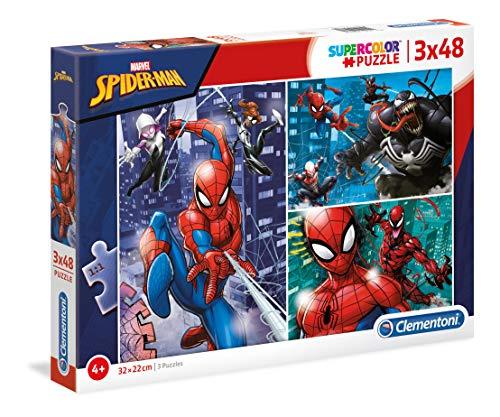 Clementoni Supercolor Puzzle-Spider Man-3 x 48 Pezzi, Multicolore, 25238