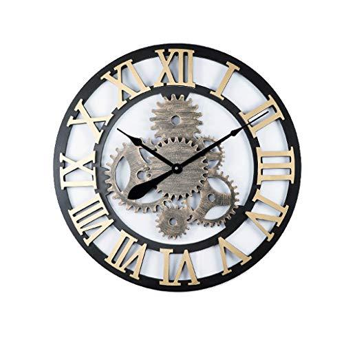 KINGXX-01 Orologio Parete Orologio da Parete 70 cm , Orologio da Parete Silenzioso Vintage in Ferro battuto con Ingranaggi Cavi , Orologio a Sospensione con Numeri Romani (Color : G, Size : 70cm)