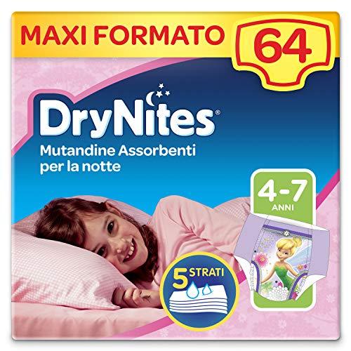 Drynites Mutandine Assorbenti per la Notte per Bambina, 17-30 Kg, 4 Confezioni da 16 Pezzi