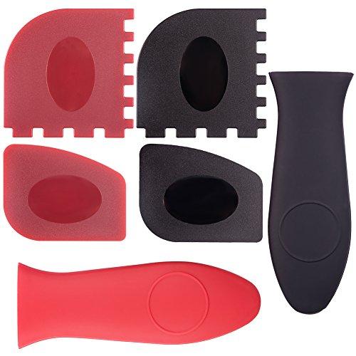 Ccmart durevole bistecchiera raschietto strumento set di plastica e silicone Hot Handle Holders for Skillets, pentole in ghisa e Bistecchiere, confezione da 6(rosso, nero)