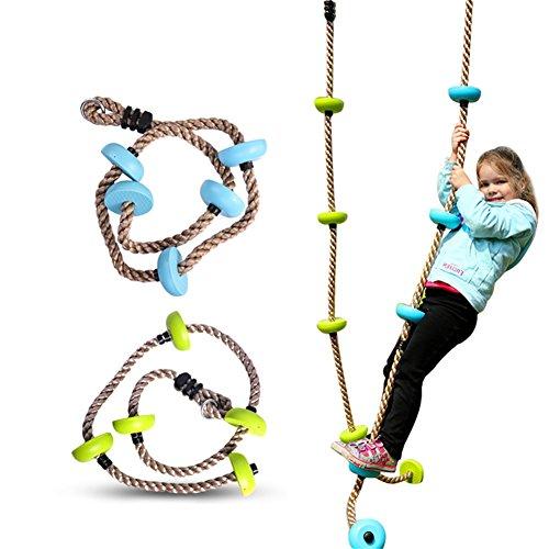 Per Cuerda de Escalada con Plataformas Juego de Columpio de oscilación Accesorios al Aire libre de Jardín para Niños (Verde)