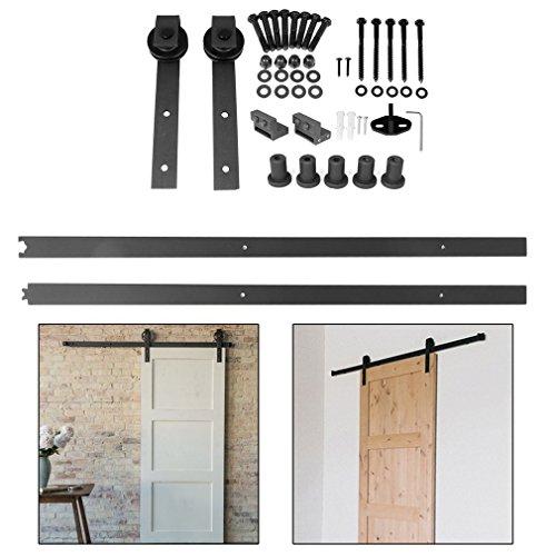 homgrace kit de porte coulissante poulie de rail suspendu syst me de porte coulissante ensemble. Black Bedroom Furniture Sets. Home Design Ideas