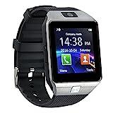 Reloj Inteligente con Cámara TF / Ranura de Tarjeta SIM, Análisis de Sueño, Podómetro, Anti-pérdida, Fitness tracker, Alertas de mensajes para teléfonos inteligentes Android y iOS, plata