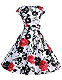 Dressystar Vintage 1950s Polka Dot and Solid Color Prom Dresses Cap-Sleeve Red Flower B M