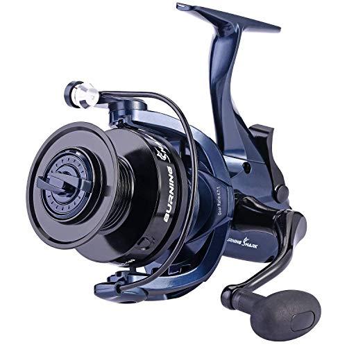 Sougayilang Baitrunner mulinello da pesca in acciaio INOX,13+ 1BB, fibra di carbonio spinning mulinello per siluro, Walleye, Bass, a righe con una bobina di ricambio